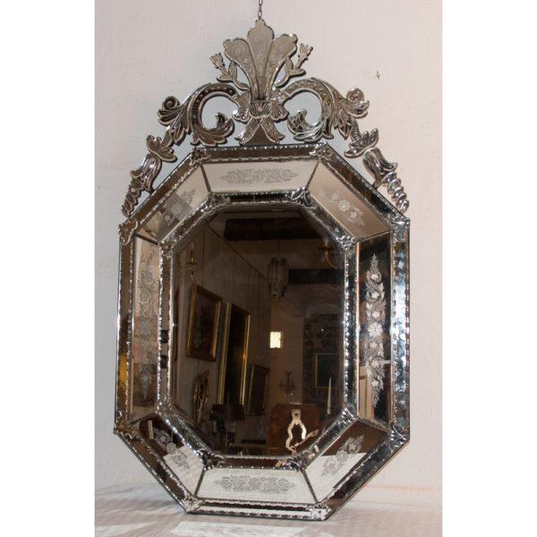 Grand Miroir Vénitien Octogonal époque Fin XIXe Siècle