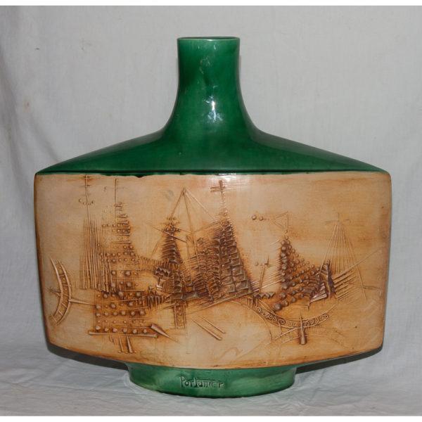 Vase Plat En Céramique Vallauris Signé Portanier Circa 1960