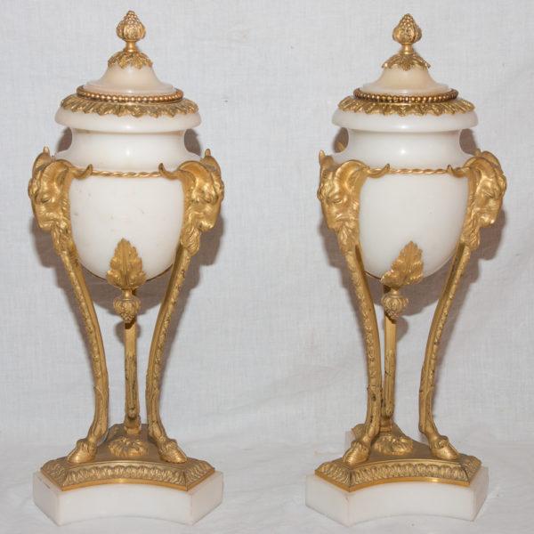 Paire De Cassolettes En Marbre Et Bronze Doré Style Louis XVI Siècle 19 ème Siècle