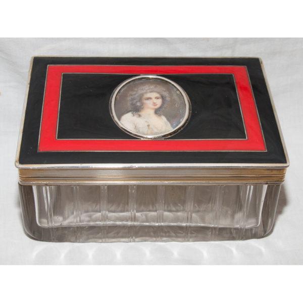 """Boîte En Cristal"""" Couvercle En Argent Et Miniature"""" 1905-1933"""