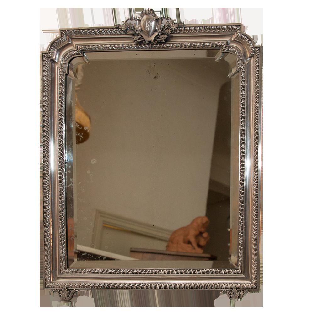 grand miroir de table italien en argent massif poque 1900 galerie lauretta. Black Bedroom Furniture Sets. Home Design Ideas