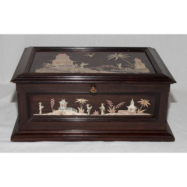 Coffret à Bijoux Décor Chinois, Alphonse Giroux Et Cie Circa 1870