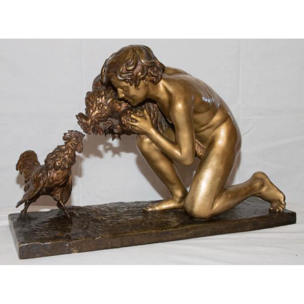 Combat De Coqs En Bronze Signé Sophie Debry 1920