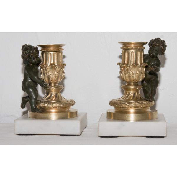 Paire De Bougeoirs de toilette , Putti époque Napléon III
