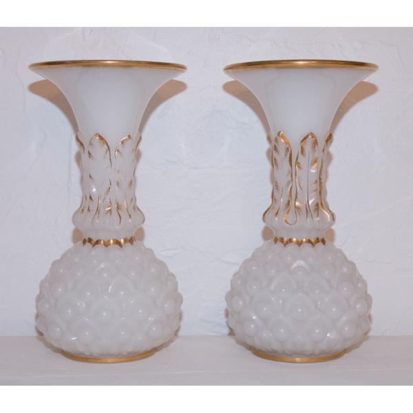 Paire de Vases En Opaline Baccarat Circa 1850