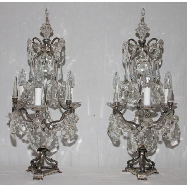 Paire De Girandoles En Bronze Argenté Et Cristal époque Fin XIXe