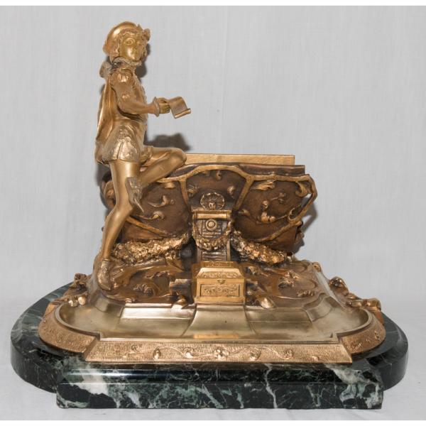 Encrier Porte Lettres En Bronze Doré Signé R Marquet 1875-1939