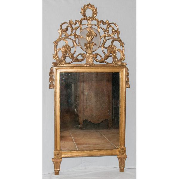 Miroir Provençal En Bois Sculpté Et Doré époque Louis XVI