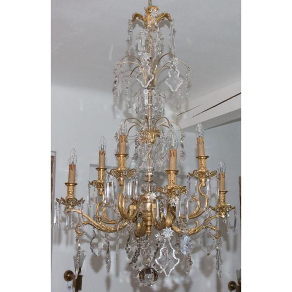 Grand Lustre En Bronze Et Cristal Epoque Napoléon III