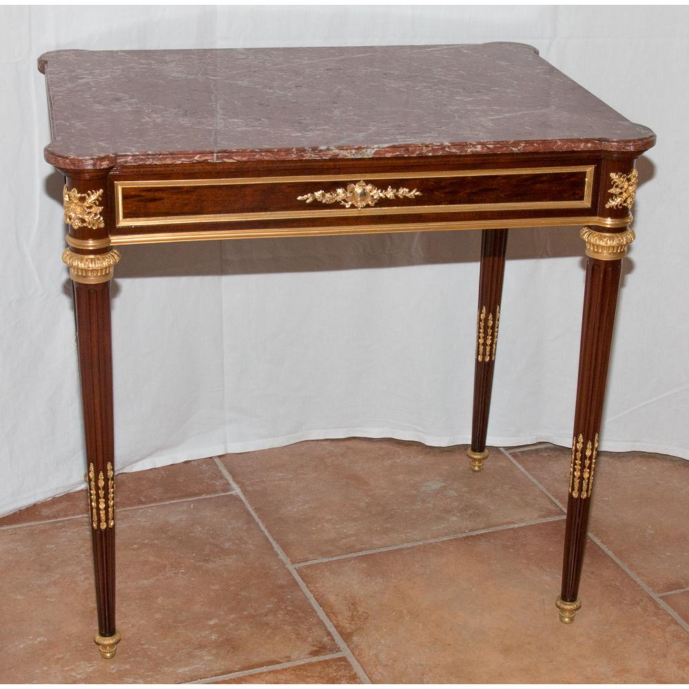 Table d 39 appoint en acajou et bronze dor poque napol on iii galerie lauretta - Table d appoint dore ...