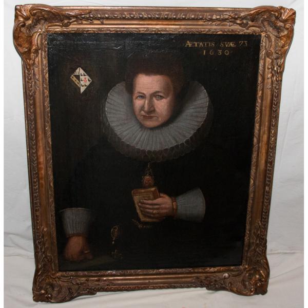 Portrait De Femme à La Collerette école Néerlandaise Daté 1630
