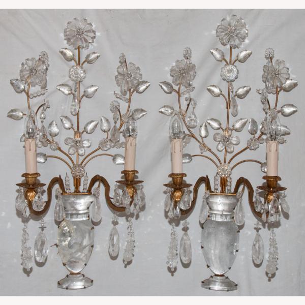 Paire d'Appliques en Cristal de Roche Maison Baguès Circa 1960