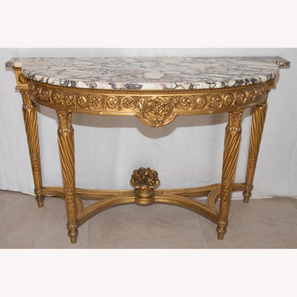 Console Demi-lune En Bois Doré Style Louis XVI époque XIXe