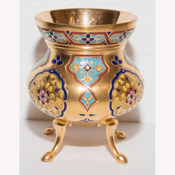 Petite Coupe En Bronze Doré Et émaux Armand Point 1861-1932