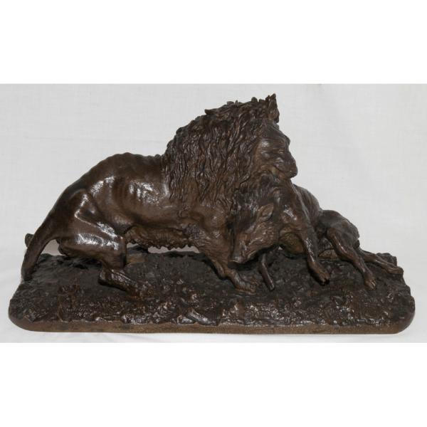 Lion Entraînant Un Sanglier Daté 1836 Christophe Fratin