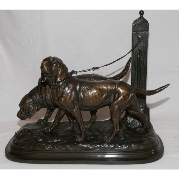 Chiens De Chasse , Groupe En Bronze Signé E. Delabriere (1829-1912)