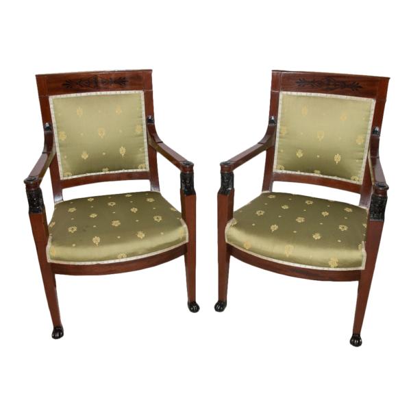 Paire de fauteuils en acajou époque 1er Empire