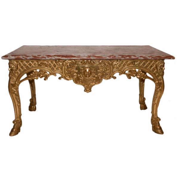 console en bois sculpté et doré époque régence