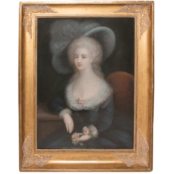 École Française-portait De Femme époque Louis XVI