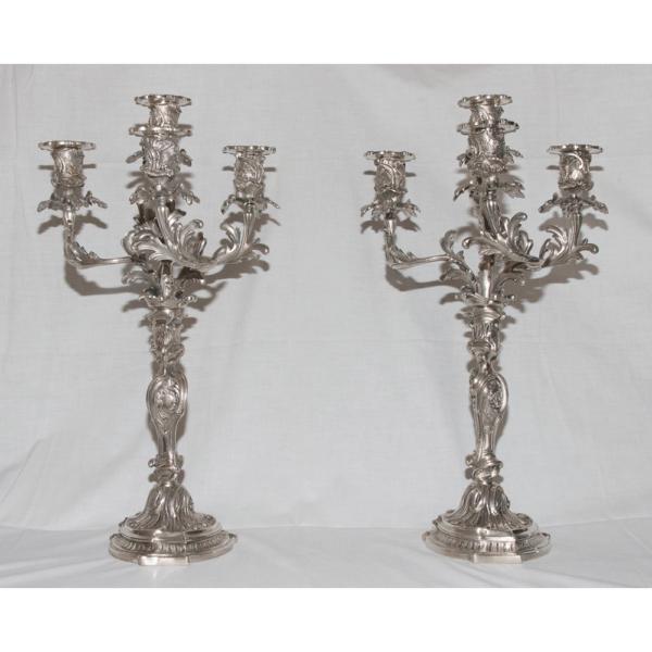 Paire De Chandelier En Bronze Argenté Style Louis XV